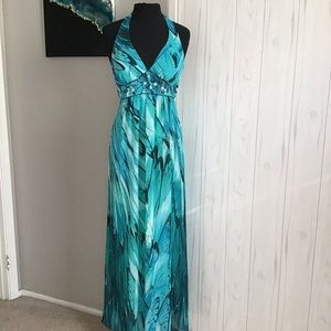 Bisou Bisou maxi blue dress halter top size 4